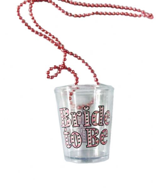 Bride To Be Shot Glass On Beaded Necklace